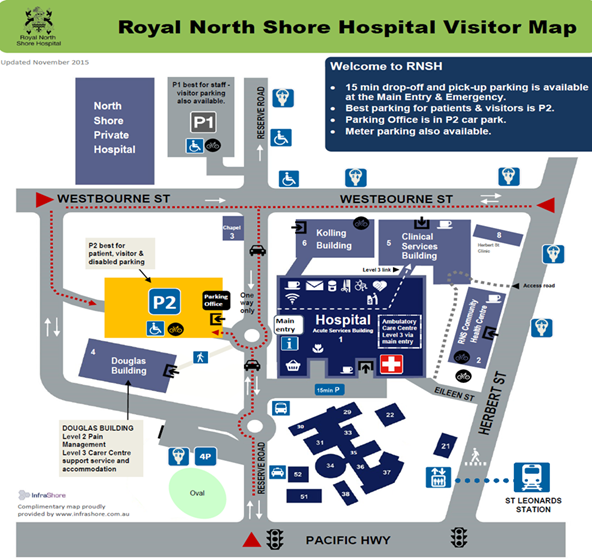 Royal North Shore Hospital Map Contact | North Shore and Sydney Paediatric Surgery
